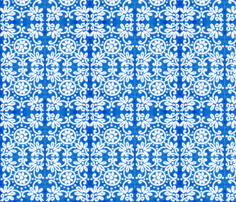 Cobalt Tiles    fabric by helenpdesigns on Spoonflower - custom fabric