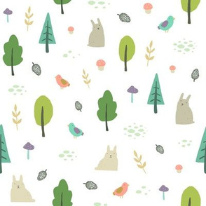 Rabbits in forest