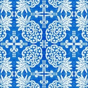 Spanish Tile N6 Pineapple (Cobalt reversed)