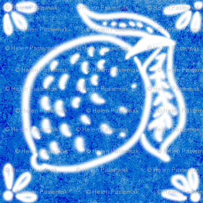 Spanish Tile N7 Lemon (Cobalt reversed)