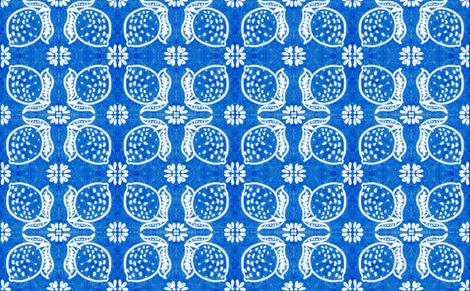 Spanish Tile N7 Lemon (Cobalt reversed) fabric by helenpdesigns on Spoonflower - custom fabric
