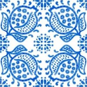 Spanish Tile N8 Pomegranate (Cobalt)