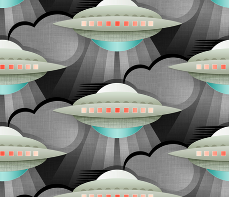 Art Deco Spaceship stardust fabric by spellstone on Spoonflower - custom fabric