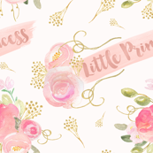 Little princess, watercolor floral, bedroom decor, little baby girl