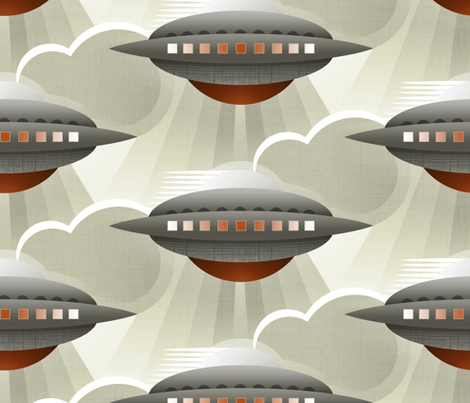 Art Deco Spaceship Tobacco fabric by spellstone on Spoonflower - custom fabric