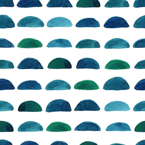 Folk pattern with rocks made in watercolor