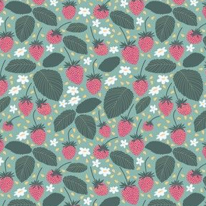 Strawberries and flowers seamless pattern