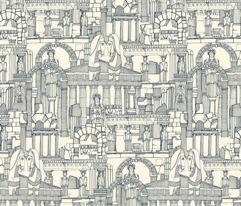 Ancient Greece indigo pearl fabric by scrummy on Spoonflower - custom fabric
