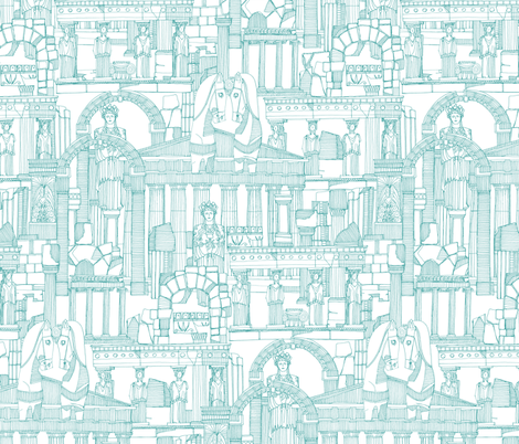 Ancient Greece teal white fabric by scrummy on Spoonflower - custom fabric