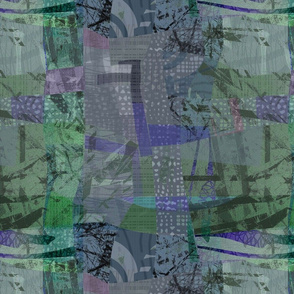 Collage Abstract -Muted Blue Green