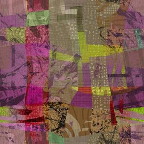 Collage Abstract Vivid Magenta Yellow