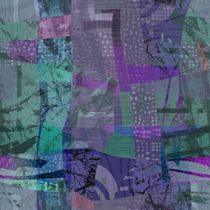 Collage Abstract purple turquoise