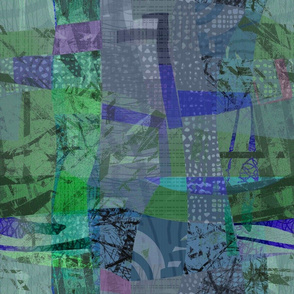 Collage Abstract Cobalt Greens