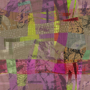Collage Abstract magenta green