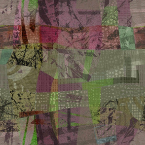 Collage Abstract mauve green