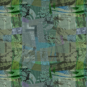 Collage Abstract Woodland Spring
