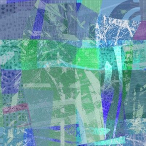 Collage Abstract Aqua blue green