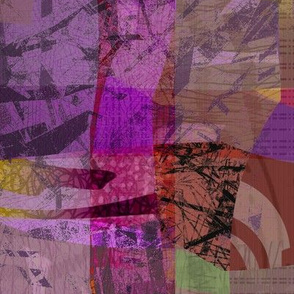 Collage Abstract purple gold vivid
