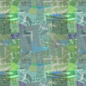 Collage Abstract Blue Green