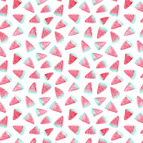 Watercolor watermelon fabric pattern. Fruit food design.
