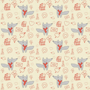 Fox in love with hearts