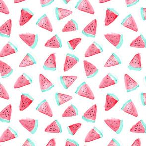 Watercolor watermelon fabric pattern. Fruit food design.