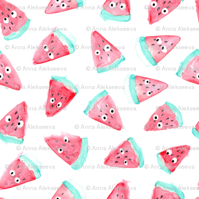 Watercolor watermelon with eyes pattern. Funny food design.
