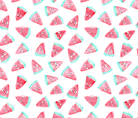 Watercolor watermelon with eyes pattern. Funny food design. fabric by kostolom3000 on Spoonflower - custom fabric