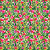 Watercolor tulips flowers fabric design. Floral aquarelle pattern.