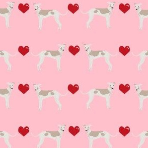 italian greyhound hearts love dog breed fabric pink