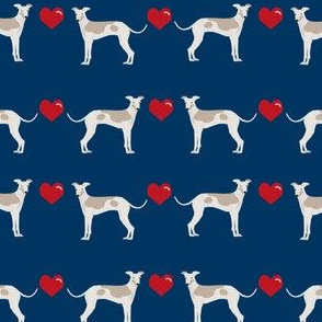 italian greyhound hearts love dog breed fabric navy