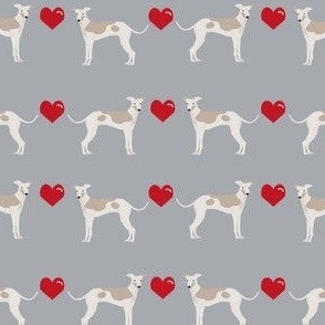 italian greyhound hearts love dog breed fabric grey