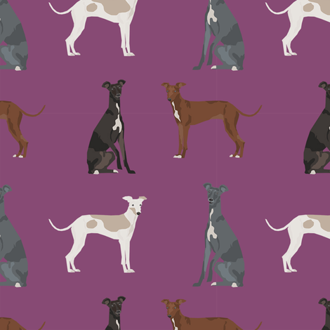 italian greyhound simple  dog breed fabric mauve fabric by petfriendly on Spoonflower - custom fabric