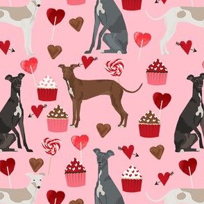 italian greyhound valentines cupcakes love hearts dog fabric pink