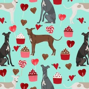 italian greyhound valentines cupcakes love hearts dog fabric mint