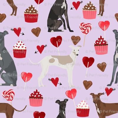 italian greyhound valentines cupcakes love hearts dog fabric purple