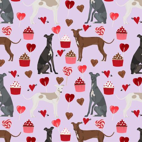 italian greyhound valentines cupcakes love hearts dog fabric purple fabric by petfriendly on Spoonflower - custom fabric