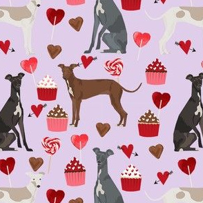 italian greyhound valentines cupcakes love hearts dog fabric purple