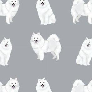 japanese spitz simple dog breed fabric grey