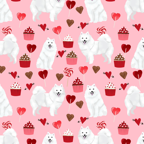 japanese spitz valentines cupcakes love hearts dog fabric pink fabric by petfriendly on Spoonflower - custom fabric