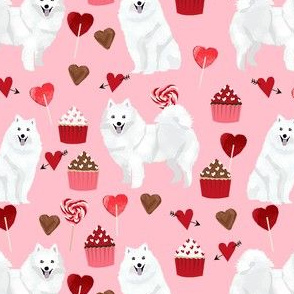 japanese spitz valentines cupcakes love hearts dog fabric pink
