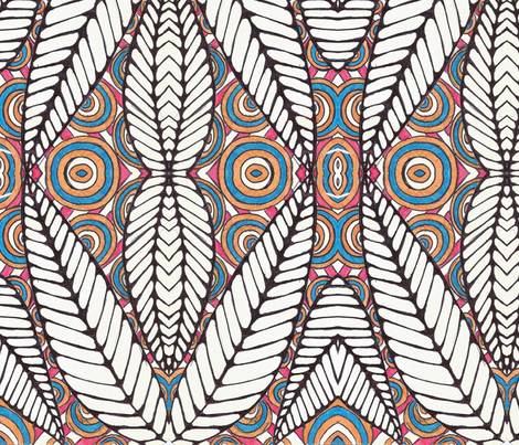 African Tribal Leaf Black White And Multi Color Fabric