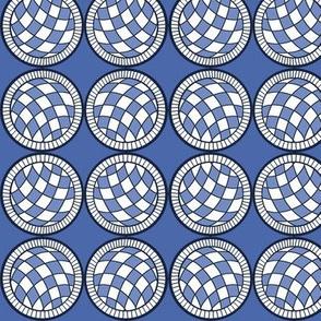Spanish Tile balls on blue Straight Up