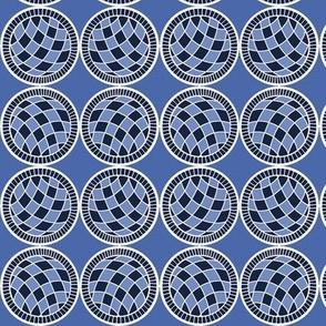Spanish Tile White balls on blue straight up
