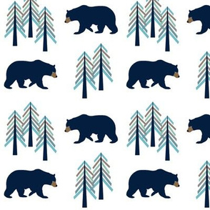 Woodland Bear + Trees - Navy Blue Forest Baby Boy Nursery GingerLous