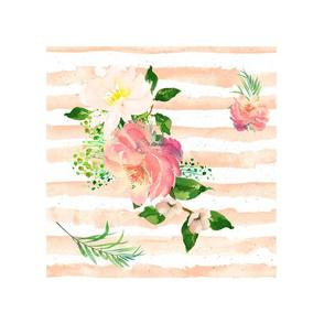 "14""x18"" / 10""x10"" Illustration / Floral Flamingo Stripes"