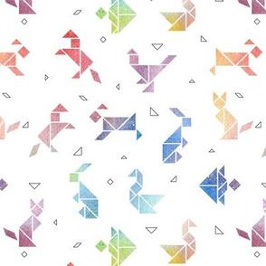 Watercolour Tangram Animals - smaller scale