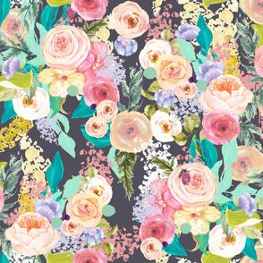 Pastel Garden Spring Floral // Charcoal