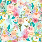 Pastel Garden Spring Floral // Light Mint
