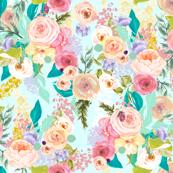 Pastel Garden Spring Floral // Light Mint